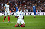 Marcus Rashford of England celebrates scoring during the FIFA World Cup Qualifier match between England and Slovakia at Wembley Stadium in London. 04 Sep 2017