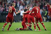 FUSSBALL   SAISON 2011/2012   CHAMPIONS LEAGUE FINALE FC Bayern Muenchen - FC Chelsea  19.05.2012 Torjubel nach dem 1:0: Arjen Robben, Mario Gomez, Philipp Lahm, Toni Kroos und Franck Ribery (v.l., alle FC Bayern Muenchen)