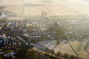 Nederland, Utrecht, Gemeente Bunschoten-Spakenburg, 18-01-2016;  dorpskern Spakenburg met korenmolen De Hoop en Gereformeerdee Kerk (PKN)<br /> Small village, north of Utrecht.<br /> luchtfoto (toeslag op standard tarieven);<br /> aerial photo (additional fee required);<br /> copyright foto/photo Siebe Swart
