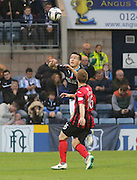 Dundee's Thomas Konrad outjumps St Johnstone's Liam Caddis -  Dundee v St Johnstone, SPFL Premiership at Dens Park<br /> <br />  - &copy; David Young - www.davidyoungphoto.co.uk - email: davidyoungphoto@gmail.com