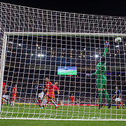 PARIS, FRANCE - September 10:  A header from Moussa Sissoko #17 of France hits the bar as goalkeeper Josep Gómes #1 of Andorra attempts to save during the France V Andorra, UEFA European Championship 2020 Qualifying match at Stade de France on September 10th 2019 in Paris, France (Photo by Tim Clayton/Corbis via Getty Images)