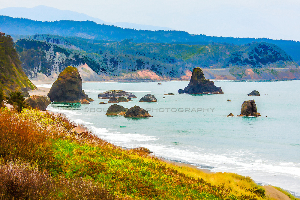 A photograph of the Oregon Coast that I was able to digitally turn into a beautiful watercolor.
