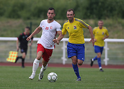 May 31, 2018 - London, United Kingdom - L-R Petamnics Sierg of Karpatalya and  Gok UGUR of Northern Cyprus .during Conifa Paddy Power World Football Cup 2018  Group B match between Northern Cyprus against Karpatalya at Queen Elizabeth II Stadium (Enfield Town FC), London, on 31 May 2018  (Credit Image: © Kieran Galvin/NurPhoto via ZUMA Press)