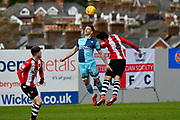 Matthew Bloomfield (10) of Wycombe Wanderers battles for possession with Lloyd James (4) of Exeter City during the EFL Sky Bet League 2 match between Exeter City and Wycombe Wanderers at St James' Park, Exeter, England on 10 February 2018. Picture by Graham Hunt.