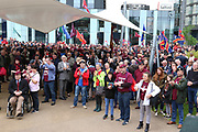 Huge crowds during the Soldier F Protest at Media City, Salford, United Kingdom on 18 May 2019.