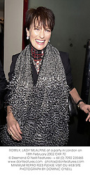 ROMILY, LADY McALPINE at a party in London on 18th February 2002.OXR 70