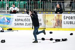 Tomaz Vnuk, head coach of HK SZ Olimpija celebates after ice hockey match between HK SZ Olimpija and HDD SIJ Acroni Jesenice in second game of Final at Slovenian National League, on April 25, 2019 in Hala Tivoli, Ljubljana, Slovenia. Photo by Matic Klansek Velej / Sportida