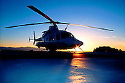 A medical air ambulance helicopter sits on the hospital launch pad in Salt Lake City, Utah
