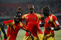 Photo: Steve Bond/Richard Lane Photography.<br /> Guinea v Morocco. Africa Cup of Nations. 24/01/2008. Ismael Bangoura (L) celebrates his goal in style