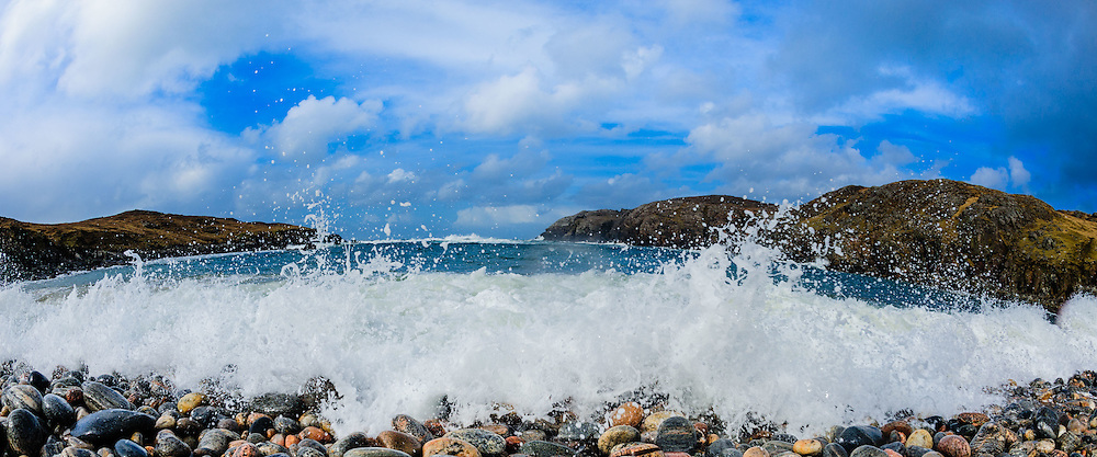 Atlantic waves pound the pebble beach at Gearrannan, Isle of Lewis, Outer Hebrides, Scotland<br /> <br /> (c) Andrew Wilson | Edinburgh Elite media