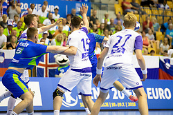 Sveinn Johannsson of Iceland during handball match between National teams of Slovenia and Iceland in Main Round of 2018 EHF U20 Men's European Championship, on July 25, 2018 in Arena Zlatorog, Celje, Slovenia. Photo by Urban Urbanc / Sportida
