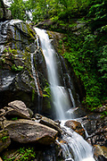 High Shoals Falls at South Mountains State Park in Connelly Springs, North Carolina on June 20, 2017.<br />