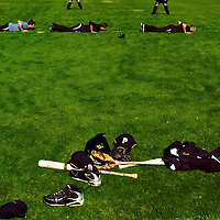 BRADENTON, FL -- January 13, 2010 -- Pittsburg Pirates players lay on the ground before a drill during workouts at the Pirate City Spring Training Headquarters in Bradenton, Fla., on Wednesday, January 13, 2010.  (Chip Litherland for the Chip Litherland for the Pittsburgh Tribune-Review)