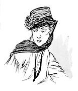 Women's  fashion. Hat with veil considered suitable for mourning. From the French periodical 'Le Flambeau', 18 September 1915. Death  Bereavement First World War 1914-1918.
