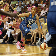 Maya Moore, Minnesota Lynx,  in action during the Connecticut Sun Vs Minnesota Lynx, WNBA regular season game at Mohegan Sun Arena, Uncasville, Connecticut, USA. 27th July 2014. Photo Tim Clayton