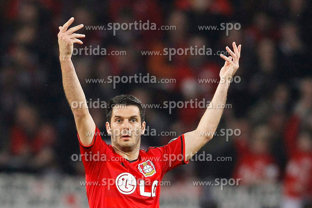 08.04.2015, BayArena, Leverkusen, GER, DFB Pokal, Bayer 04 Leverkusen vs FC Bayern Muenchen, Viertelfinale, im Bild Emir Spahic (Bayer 04 Leverkusen #5) // during the German DFB Pokal quarter final match between Bayer 04 Leverkusen and FC Bayern Munich at the BayArena in Leverkusen, Germany on 2015/04/08. EXPA Pictures &copy; 2015, PhotoCredit: EXPA/ Eibner-Pressefoto/ Sch&uuml;ler<br /> <br /> *****ATTENTION - OUT of GER*****