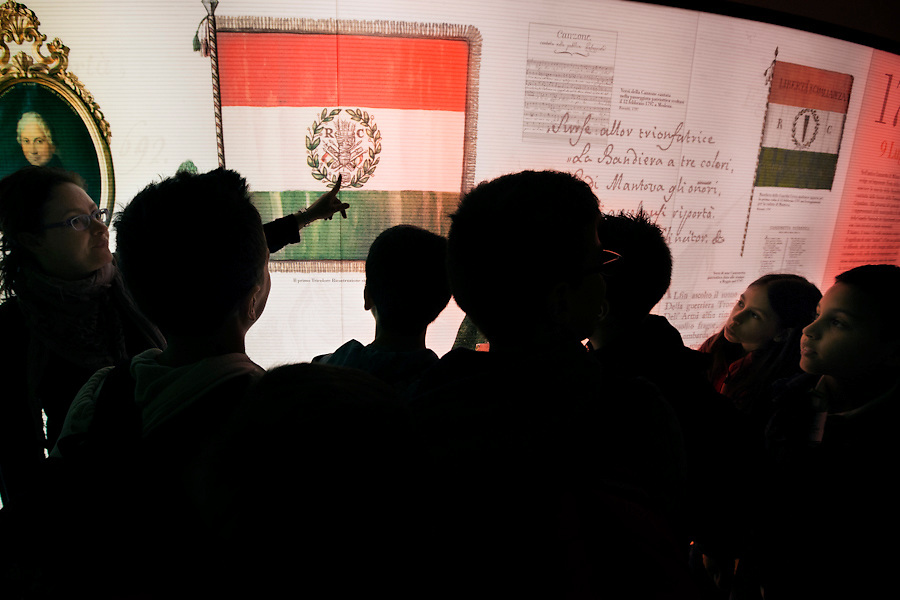 Students of 'Gattattico' elementary school learning about their heritage at the Musei del Tricolore in Reggio Emilia.<br />