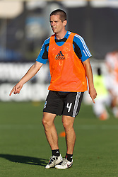 July 20, 2011; Santa Clara, CA, USA;  San Jose Earthquakes midfielder Sam Cronin (4) warms up before the game against the Vancouver Whitecaps at Buck Shaw Stadium. San Jose tied Vancouver 2-2.