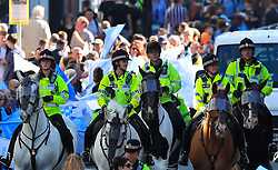 Mounted police during the trophy parade in Manchester.