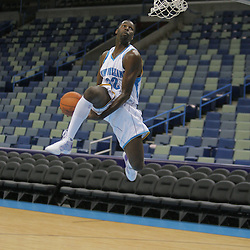 26 September 2008: Julian Wright #32 performs a dunk during media day for the New Orleans Hornets at the New Orleans Arena in New Orleans, LA.