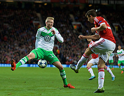 MANCHESTER, ENGLAND - Wednesday, September 30, 2015: VfL Wolfsburg's André Schürrle in action against Manchester United during the UEFA Champions League Group B match at Old Trafford. (Pic by David Rawcliffe/Propaganda)