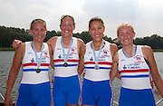 2006, U23 Rowing, Championships, Hazewinkel, BELGIUM,  GBR BW4X, Bow, Kristina STILLER, Louisa REEVE, Francesca JUS-BURKE, Frances FLECTCHER. Sunday, 23.07.2006. Photo  Peter Spurrier/Intersport Images email images@intersport-images.com.[Mandatory Credit Peter Spurrier/ Intersport Images] Rowing Course, Bloso, Hazewinkel. BELGUIM