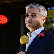 Speaker Sadiq Khan on stage of the Mayor of London celebrates the Festival of Lights with Diwali in Trafalgar Square on 28 October 2018, London, UK.