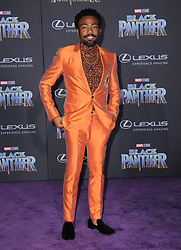 January 29, 2018 - Hollywood, CA, U.S. - 29 January 2018 - Hollywood, California - Donald Glover. Marvel Studios' ''Black Panther'' World Premiere held at Dolby Theater. Photo Credit: Birdie Thompson/AdMedia (Credit Image: © Birdie Thompson/AdMedia via ZUMA Wire)