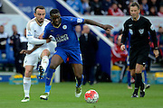 Leicester City forward Jeff Schlupp and Swansea City midfielder Leon Britton battle during the Barclays Premier League match between Leicester City and Swansea City at the King Power Stadium, Leicester, England on 24 April 2016. Photo by Alan Franklin.