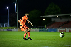 LEYLAND, ENGLAND - Friday, September 1, 2017: Liverpool's George Johnston scores the winning fifth penalty to win the shoot-out 5-4 during the Lancashire Senior Cup Final match between Fleetwood Town and Liverpool Under-23's at the County Ground. (Pic by Propaganda)