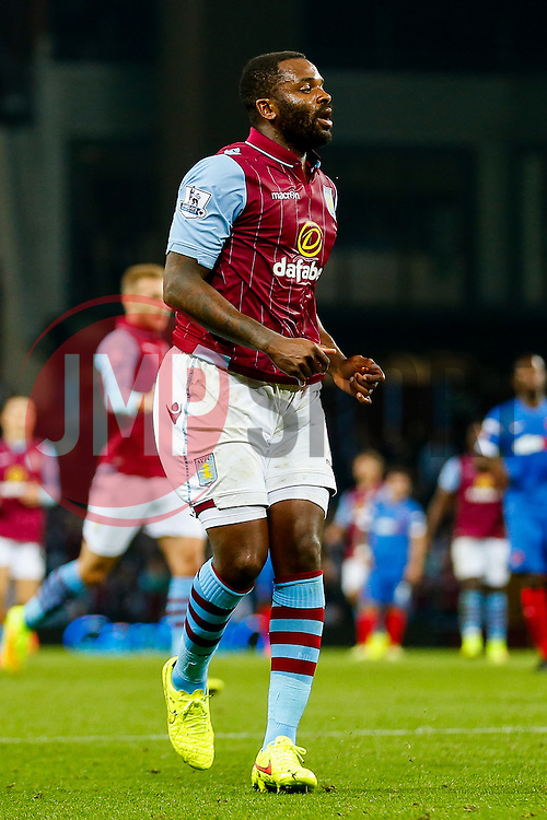 Darren Bent of Aston Villa sees his shot miss - Photo mandatory by-line: Rogan Thomson/JMP - 07966 386802 - 27/08/2014 - SPORT - FOOTBALL - Villa Park, Birmingham - Aston Villa v Leyton Orient - Capital One Cup Round 2.