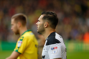 Derby County midfielder Bradley Johnson (15) walking out ahead of the EFL Sky Bet Championship match between Norwich City and Derby County at Carrow Road, Norwich, England on 28 October 2017. Photo by Phil Chaplin.