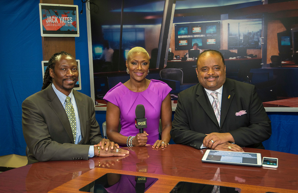 Kenneth Davis and Jolanda Jones talk with Roland Martin during a broadcast of  his national show from Yates High School, February 6, 2017.