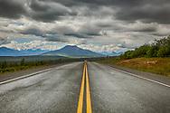 Glenn Highway overlooking Gunsight Mountain, summer, afternoon