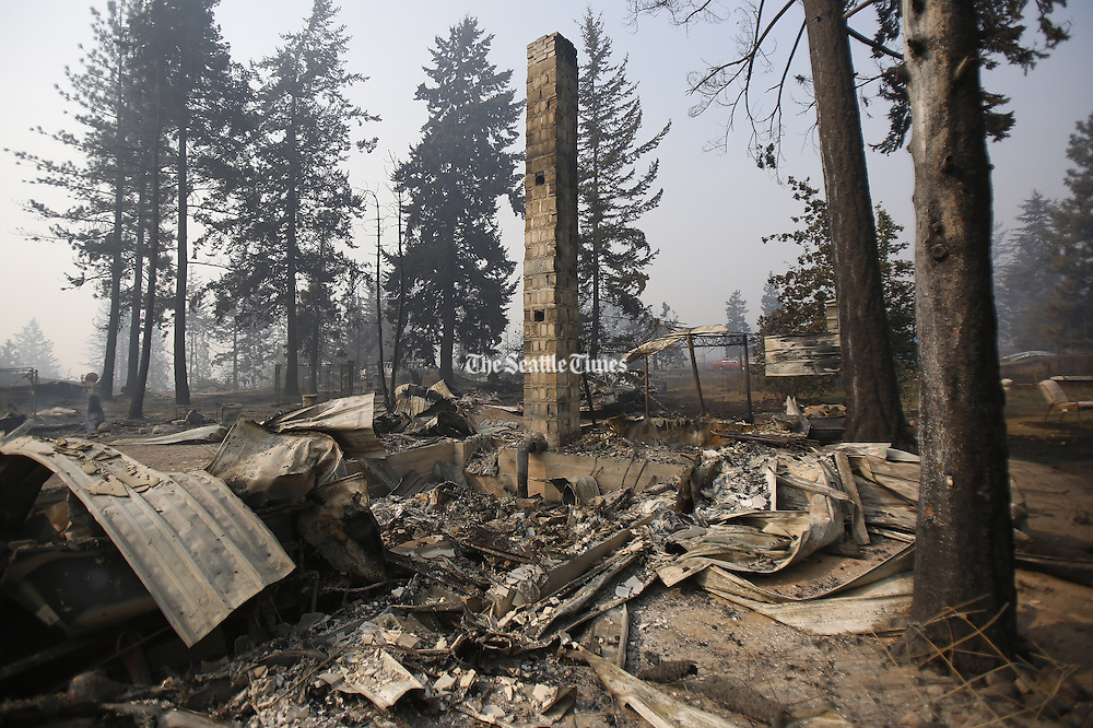 A chimney is the only thing that still stands after a wildfire swept through the community on White Rock Road, destroying several houses, in Okanogan Sunday, August 23, 2015.<br />