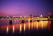 Harrisburg night skyline, Susquehanna River light reflections, Walnut Street Bridge, Pennsylvania