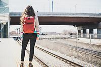 Natalie Williams catching the train to work, Salt Lake City, Utah.