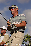 Australia's Robert Allenby tees off during a practice round prior to The 2005 Sony Open In Hawaii. The event was held at The Waialae Country Club in Honolulu.