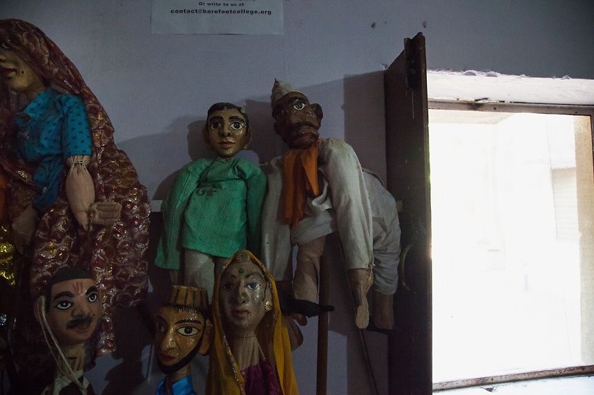 Puppets, in the theatre and music room of Barefoot College; the puppets, made by people of Rajasthan villages. 01/2013 © Marida Augusto/Max Hirzel