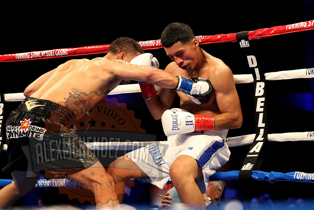 VERONA, NY - JUNE 09:  Regis Prograis (L) punches Joel Diaz Jr. during a ShoBox boxing match at the Turning Stone Resort Casino on June 9, 2017 in Verona, New York. (Photo by Alex Menendez/Getty Images) *** Local Caption *** Regis Prograis; <br /> Joel Diaz Jr.