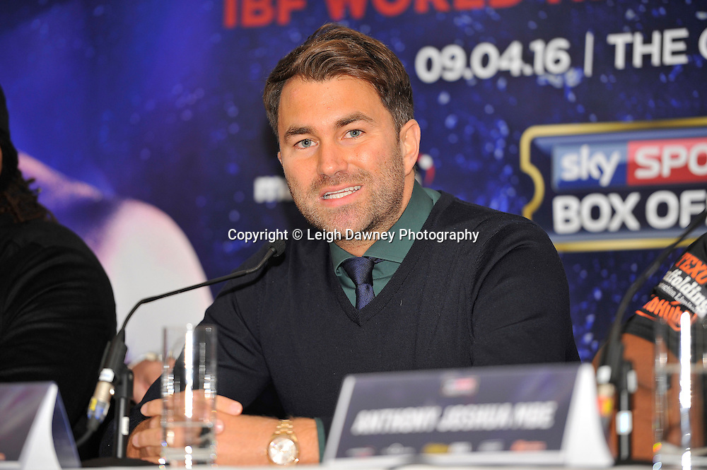 Eddie Hearn speaks at the press conference at the Dorchester Hotel, Park Lane, London on19th February 2016 ahead of the IBF World Heavyweight Title fight between Anthony Joshua and Charles Martin. Photo credit: Leigh Dawney