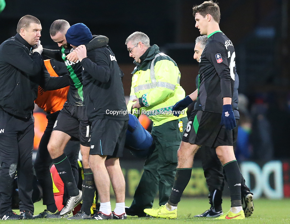 30.01.2016. Selhurst Park, London, England. Emirates FA Cup 4th Round. Crystal Palace versus Stoke. Marc Wilson limps off at the end of the game