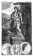 Ceres - Roman goddess of agriculture and corn (Greek Demeter), mother of Persephone/Proserpine. Copperplate engraving.