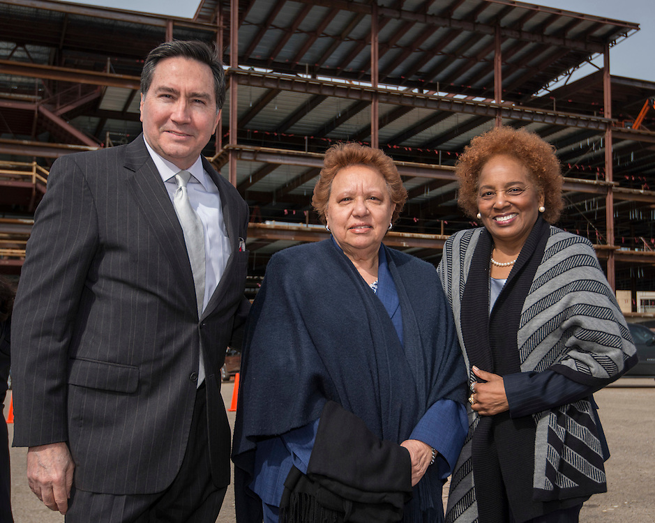 L-R: Denis DeBakey, Agnes Perry and Charlesetta Deason pose for a photograph at the site of the new DeBakey High School for Health Professionals, January 27, 2016.