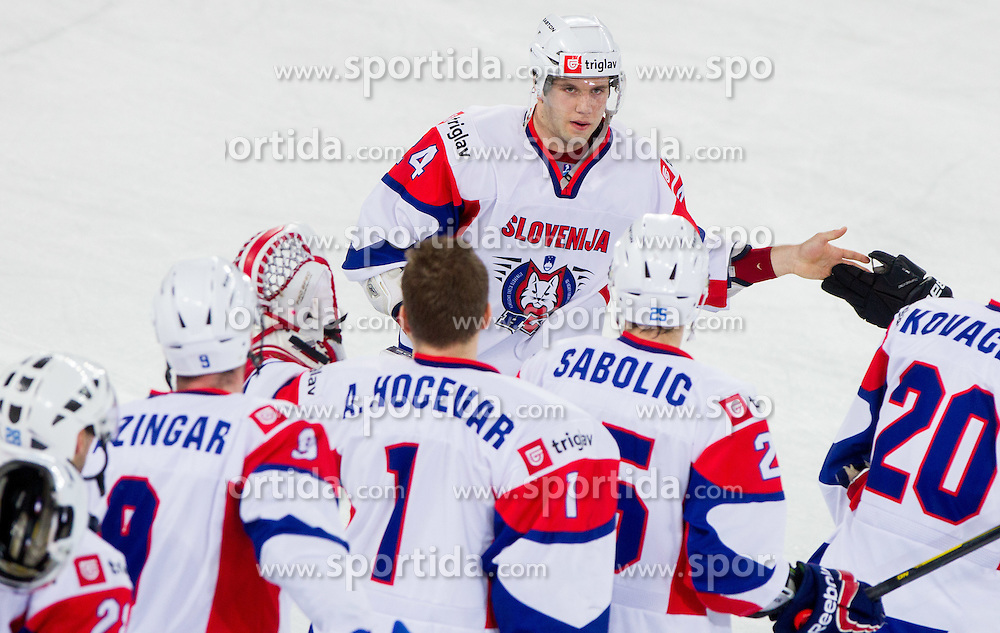 Rok Ticar of Slovenia, MVP after the ice-hockey match between Slovenia and Ukraine at IIHF World Championship DIV. I Group A Slovenia 2012, on April 19, 2012 in Arena Stozice, Ljubljana, Slovenia. Slovenia defeated Ukraine 3-2. (Photo by Vid Ponikvar / Sportida.com)