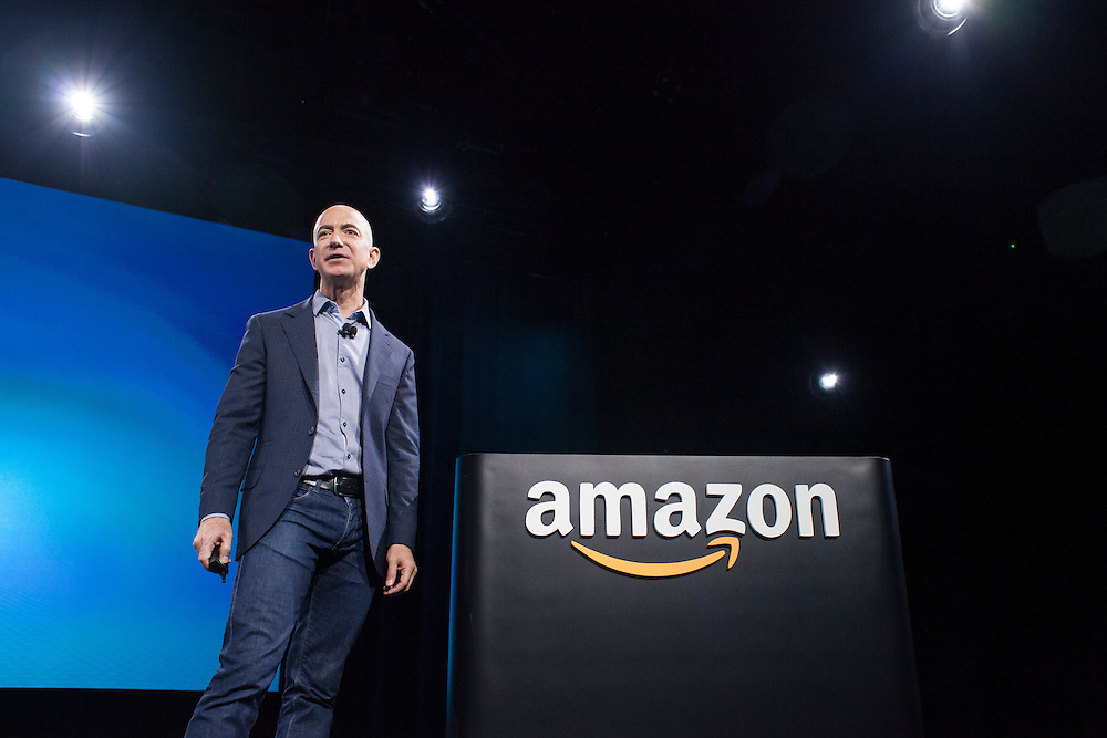 June 18, 2014 - Seattle, Washington, United States: Amazon.com Founder and CEO Jeff Bezos speaks onstage during a launch event for the Amazon Fire Phone at Fremont Studios. Bezos is also the owner of The Washington Post and founder of Blue Origin.