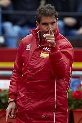 April 7, 2018 - Valencia, Valencia, Spain - Rafael Nadal of Spain reacts during the doubles match between Feliciano Lopez and Marc Lopez of Spain against Tim Putz and Jan-Lennard Struff of Germany during day two of the Davis Cup World Group Quarter Finals match between Spain and Germany at Plaza de Toros de Valencia on April 7, 2018 in Valencia, Spain  (Credit Image: © David Aliaga/NurPhoto via ZUMA Press)