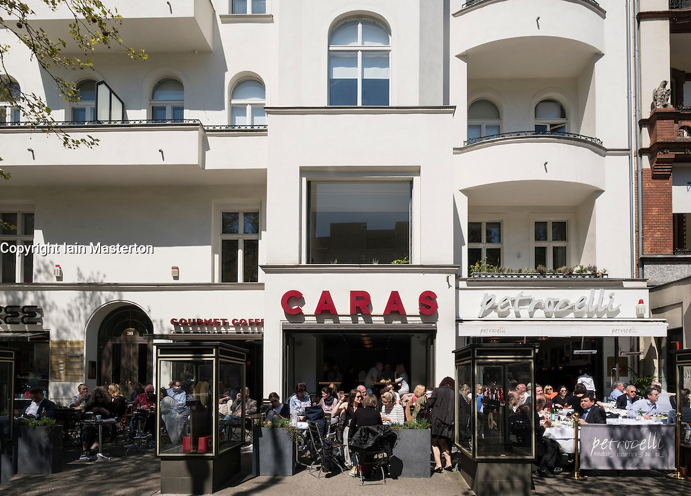 Exterior of busy cafes on Kurfurstendamm, Kudamm, in Charlottenburg, Berlin, Germany