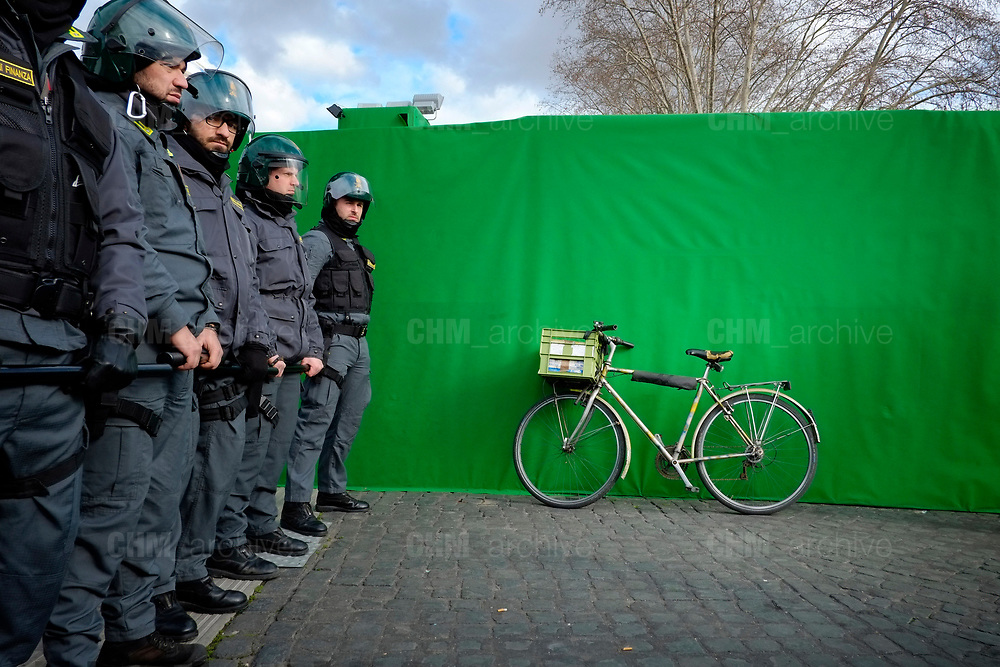 On the day of the Turkish President visit in Rome, Italian authorities created a &ldquo;green zone&quot; where all demonstrations were banned for the 48-hour period. Italian Police forces deployed during a protest organized by the Kurdish community in Rome.<br /> February 05, 2018, Italy. Christian Mantuano / OneShot