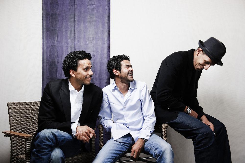Hors La Loi's actors Sami Bouajila, Jamel Debbouze and Roschdy Zem at the 63rd Cannes Film Festival. France. 21 May 2010. Photo: Antoine Doyen